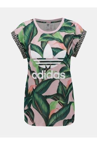 Růžovo-zelené dámské tričko s motivem adidas Originals
