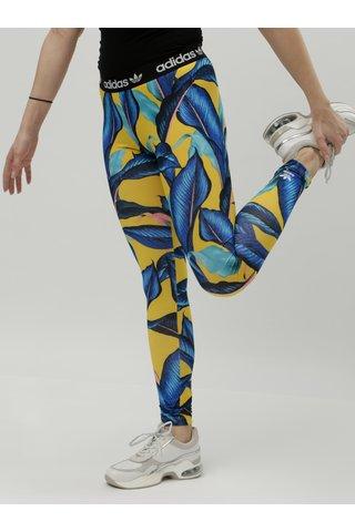 Žluto-modré dámské vzorované legíny adidas Originals