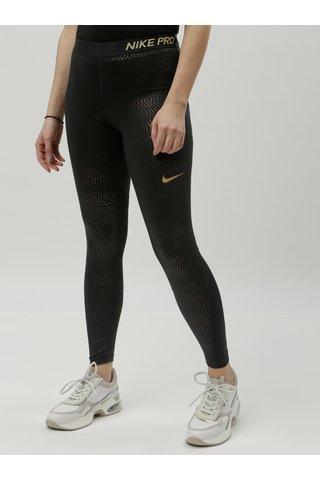 Černé funkční legíny s puntíky ve zlaté barvě Nike