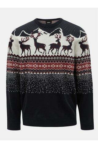Bílo-modrý svetr s vánočním motivem Burton Menswear London