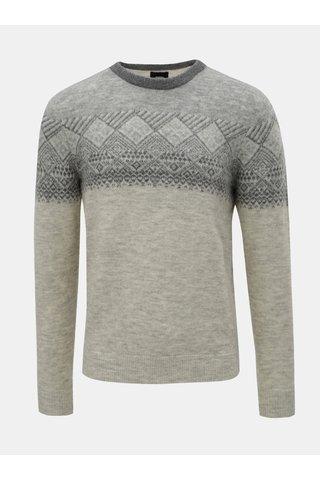 Šedý vzorovaný svetr Burton Menswear London
