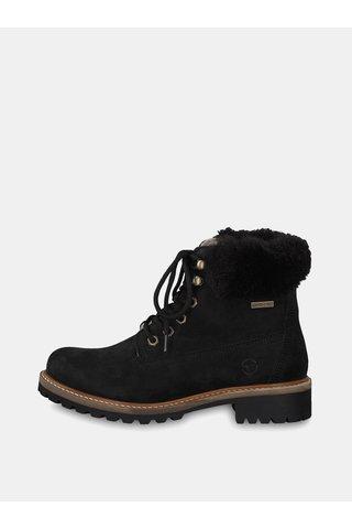 Černé kožené kotníkové voděodpudivé zimní boty s vlněnou podšívkou Tamaris