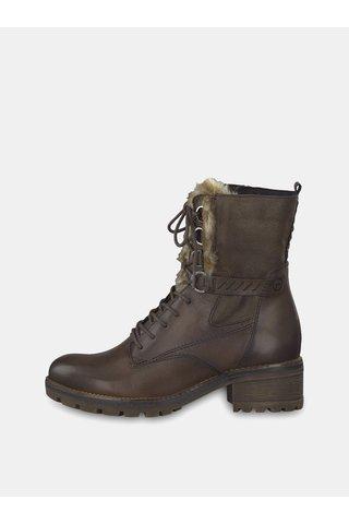 Tmavě hnědé kožené kotníkové boty se zateplenou podšívkou Tamaris
