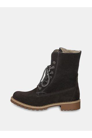 Šedé semišové kotníkové zimní voděodpudivé boty se zateplenou podšívkou Tamaris