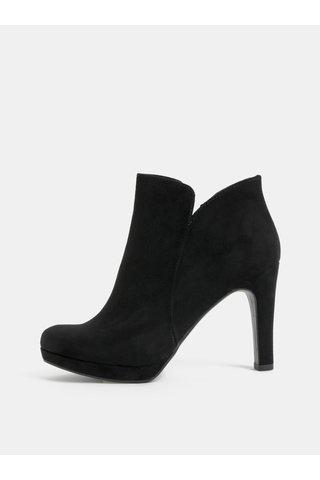 Černé kotníkové boty v semišové úpravě na vysokém podpatku Tamaris