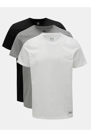 Sada tří pánských basic triček v bílé, šedé a černé barvě adidas Originals