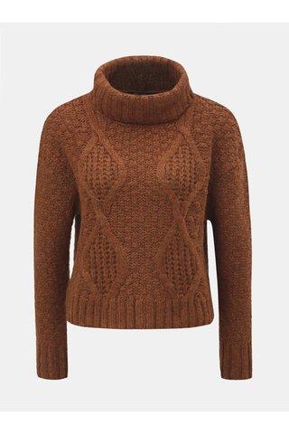 Hnědý oversize krátký svetr s rolákem Miss Selfridge
