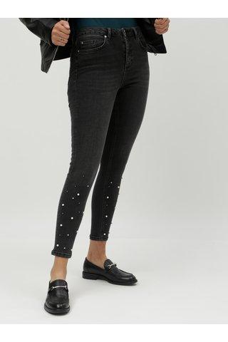 Šedé zkrácené skinny džíny s ozdobnou aplikací Miss Selfridge