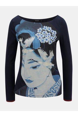 Tmavě modré tričko s motivem a výšivkou Desigual Akane