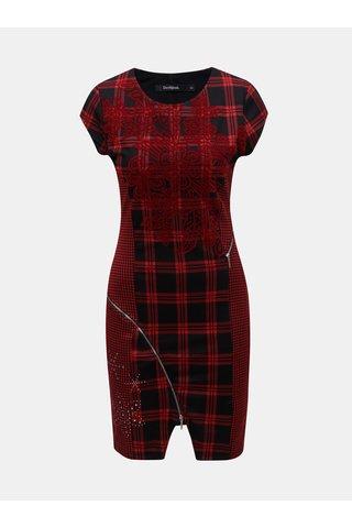 Černo-červené kostkované pouzdrové šaty s ozdobnými zipy Desigual Roma