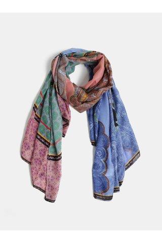 Béžovo-modrý vzorovaný šátek Desigual Brunella