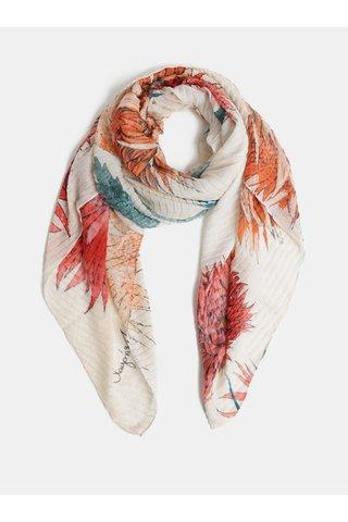 Oranžovo-krémový květovaný šátek Desigual Rectangle