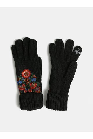 Černé květované dotykové rukavice Desigual