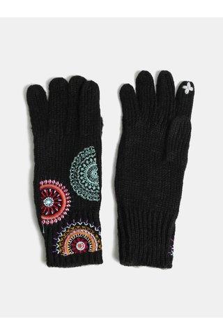 Černé rukavice se vzorovanou výšivkou Desigual Saira