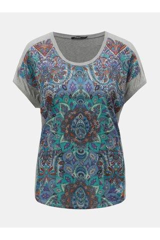 Modro-šedé vzorované tričko s ozdobnými kamínky Desigual Sevilla