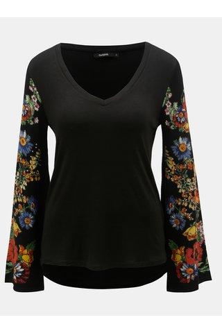 Černé tričko s květovanými svetrovými rukávy Desigual Claudina