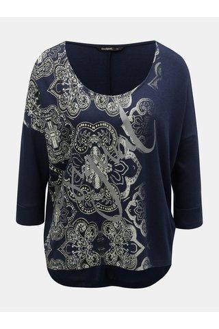 Tmavě modré vzorované tričko s netopýřími rukávy Desigual Nisa