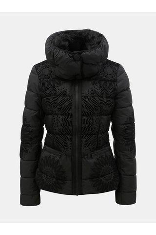 Černá zimní bunda s odnímatelným límcem Desigual Komoderi