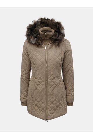 Béžová zimní bunda s odnímatelnou vnitřní svetrovou částí Desigual Maca