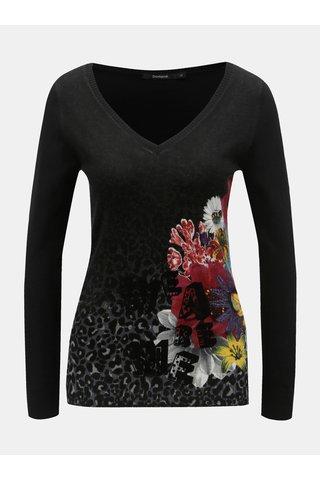 Černý lehký svetr s motivem květin Desigual Paty