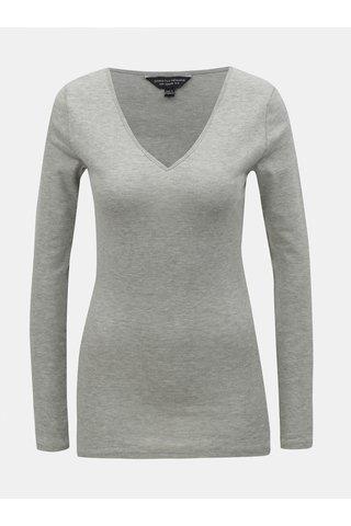Šedé žíhané basic tričko s véčkovým výstřihem Dorothy Perkins
