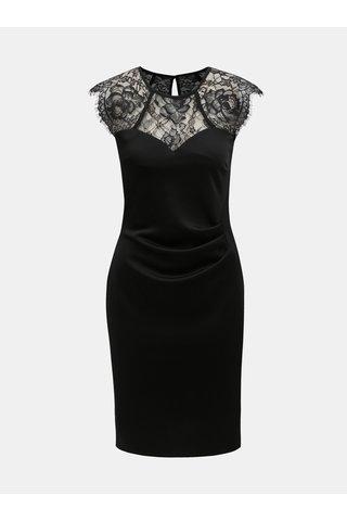 Černé pouzdrové šaty s krajkou a řasením na boku Dorothy Perkins