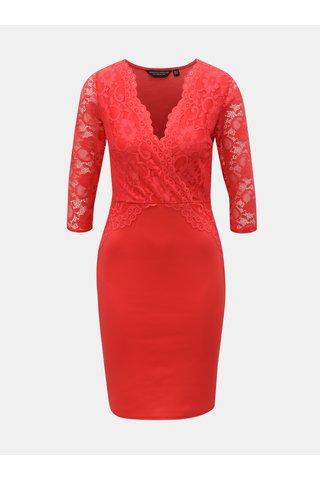 Červené pouzdrové šaty s krajkou Dorothy Perkins