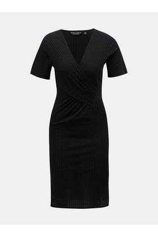 Černé pouzdrové žebrované šaty s překládaným výstřihem Dorothy Perkins