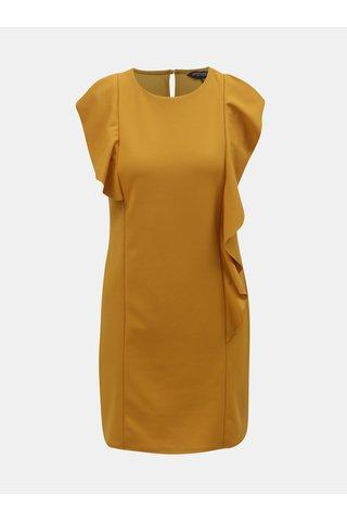 Hořčicové šaty s volány Dorothy Perkins
