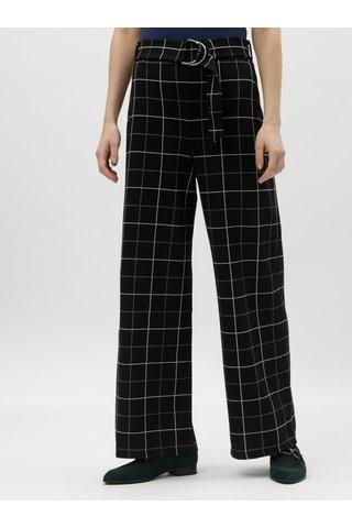 Černé široké kostkované kalhoty s vysokým pasem Miss Selfridge Petites