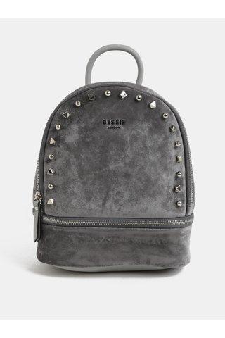Šedý sametový batoh Bessie London