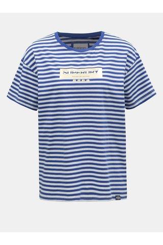 Bílo-modré dámské pruhované tričko s potiskem Superdry Minimal Logo