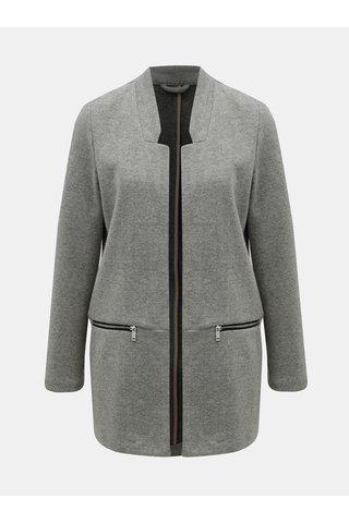 Šedý žíhaný lehký kabát se zipy TALLY WEiJL