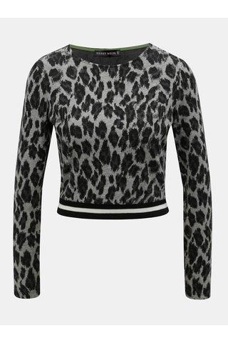 Šedý lehký crop svetr s leopardím vzorem TALLY WEiJL