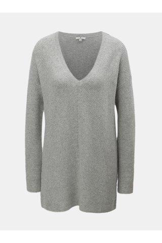 Šedý dámský volný svetr s véčkovým výstřihem Tom Tailor