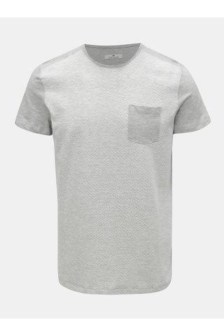 Bílo-šedé vzorované tričko s kapsou Tom Tailor