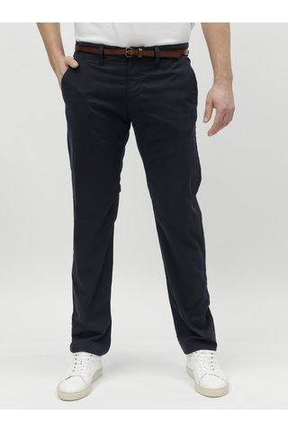 Tmavě modré pánské chino kalhoty s páskem Tom Tailor