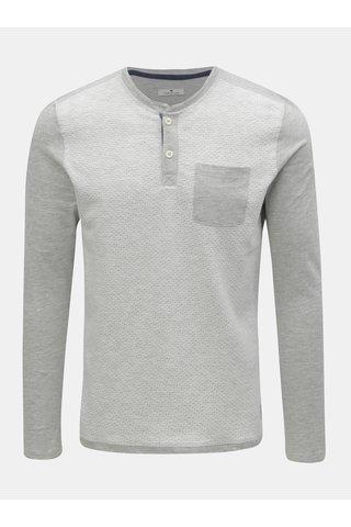 Světle šedé pánské žíhané tričko s náprsní kapsou Tom Tailor