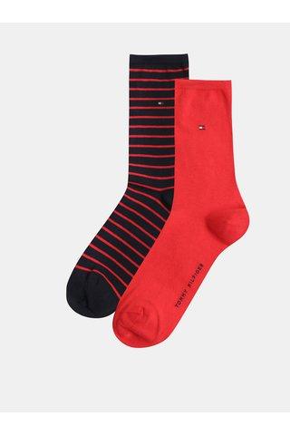Sada dvou párů dámských pruhovaných ponožek v červené a tmavě modré barvě Tommy Hilfiger