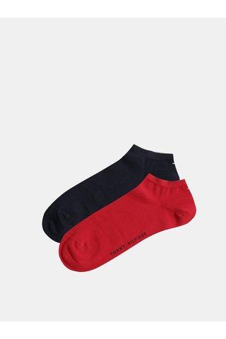 Sada dvou párů pánských nízkých ponožek v červené a tmavě modré barvě Tommy Hilfiger