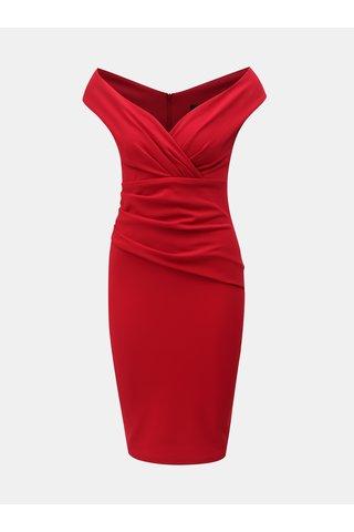 Červené pouzdrové šaty s řasením ZOOT