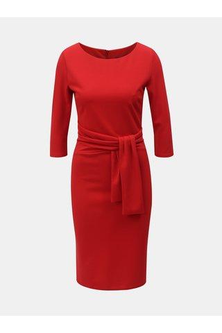 Červené pouzdrové šaty s 3/4 rukávem ZOOT