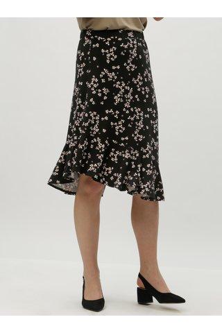 Černá květovaná sukně s volánem VERO MODA Bloom