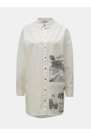 Krémová dlouhá košile s potiskem Noisy May Brigga