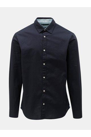 Tmavě modrá vzorovaná slim fit košile s dlouhým rukávem Jack & Jones Jason