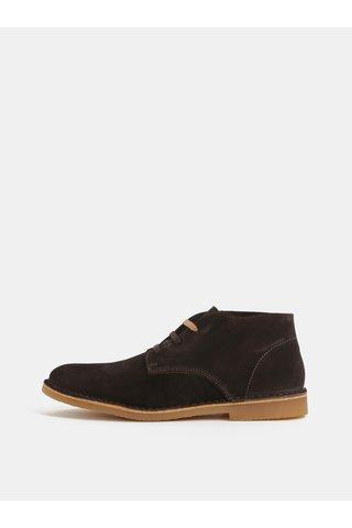 Tmavě hnědé semišové kotníkové boty Selected Homme Royce