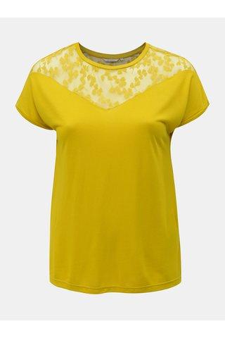 Žluté tričko s krajkou Only Carmakoma Linn