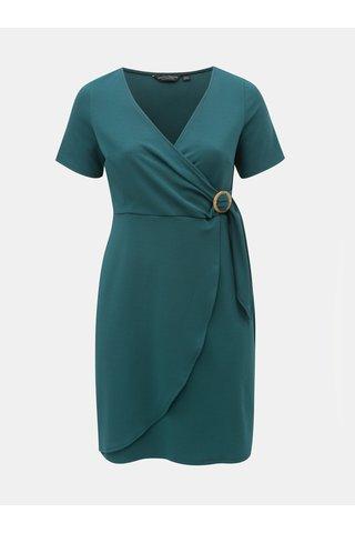 Petrolejové šaty s překládaným výstřihem Dorothy Perkins Curve