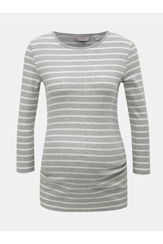 Bílo-šedé pruhované těhotenské tričko s 3/4 rukávem Dorothy Perkins Maternity