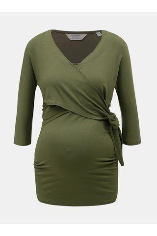 Khaki těhotenské/kojící tričko s 3/4 rukávem Dorothy Perkins Maternity